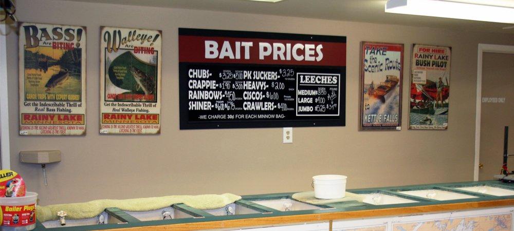 rainy lake bait shop